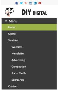 website header mobile