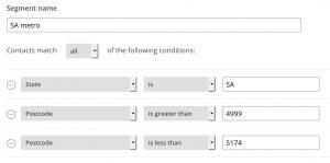 MailChimp lists segmentation