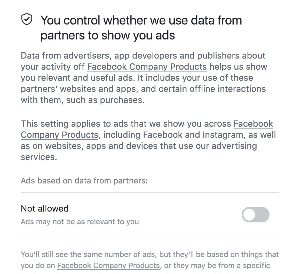2018 June Facebook advert settings off