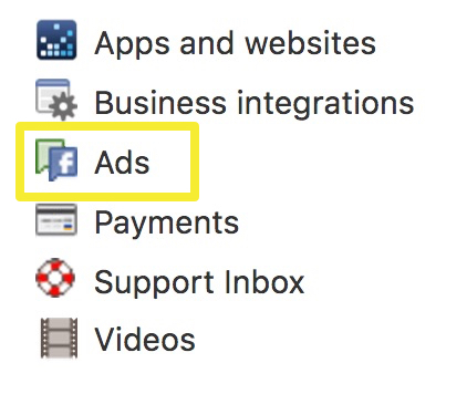 Facebook settings ad menu