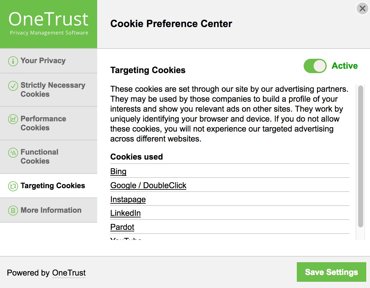 OneTrust targeting cookies