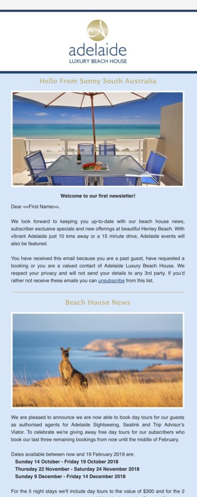 Adelaide Luxury Beach House Mailchimp
