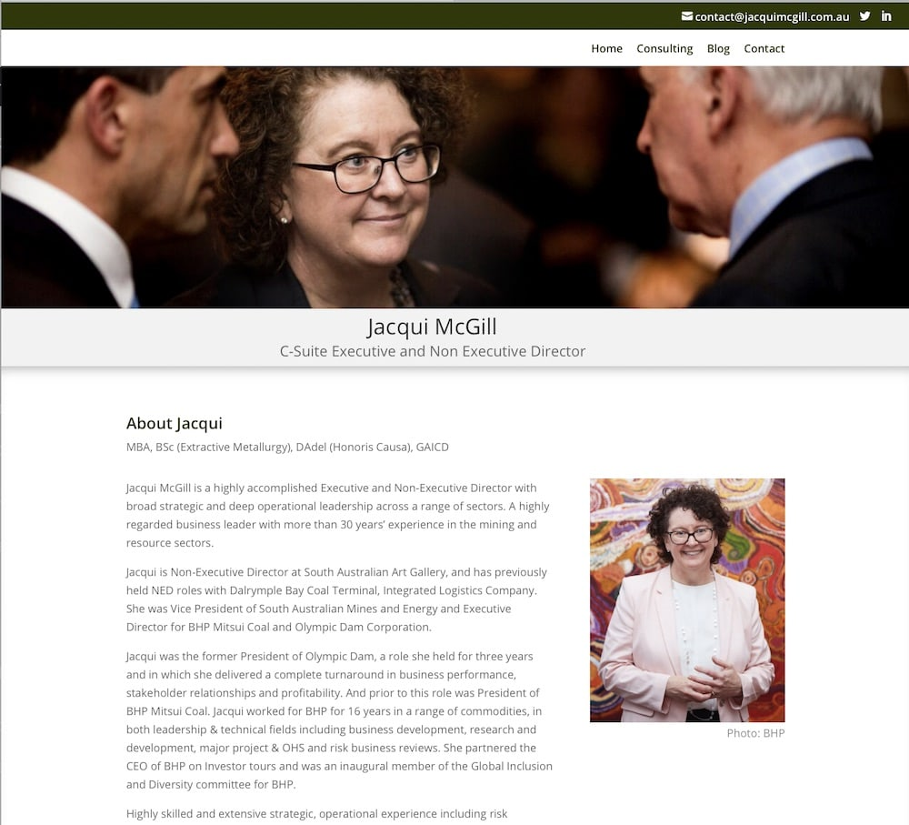 Jacqui McGill Executive Consulting website