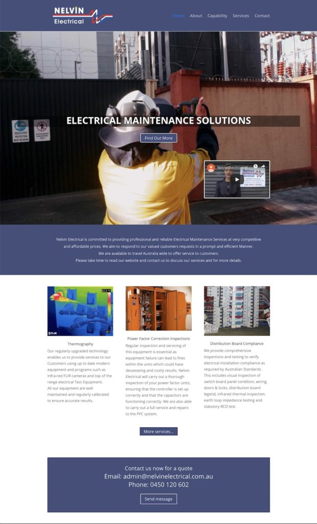 Nelvin Electrical website Adelaide