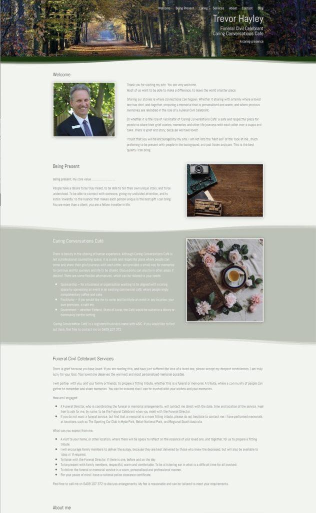 Trevor Hayley Funeral Celebrant website