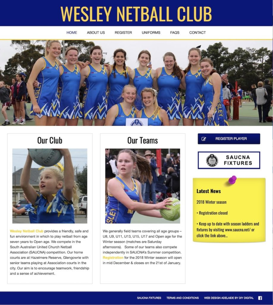 Wesley Netball Club website design